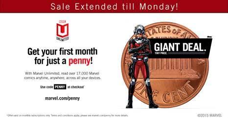 1 cent Marvel U Deal